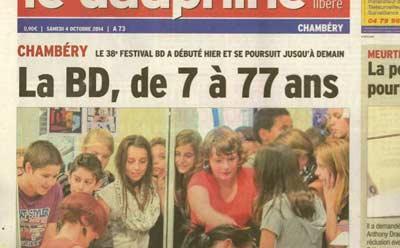 Article Dauphiné Libéré Chambéry BD 2014