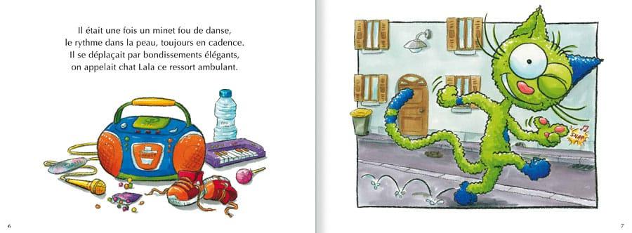 Extrait de l'album Le Chat Lala. Lire les pages 2 et 3 de ce livre pour enfants