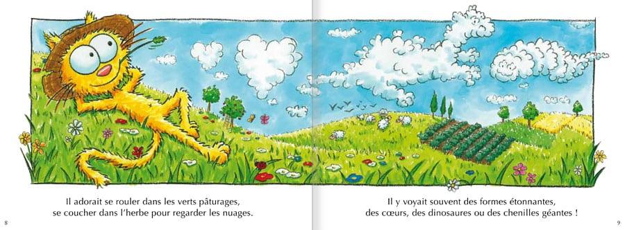Extrait de l'album Le Chat Peau d'Paille. Lire les pages 4 et 5 de ce livre pour enfants