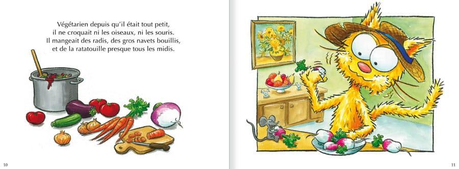 Extrait de l'album Le Chat Peau d'Paille. Lire les pages 6 et 7 de ce livre pour enfants