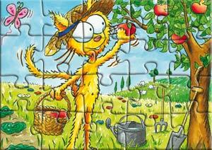 Puzzle le chat Peau d'paille cueille des pommes