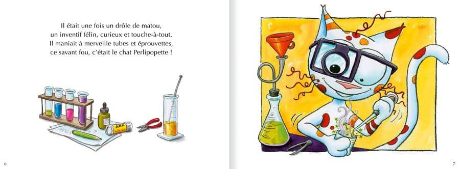 Extrait de l'album Le Chat Perlipopette. Lire les pages 2 et 3 de ce livre pour enfants