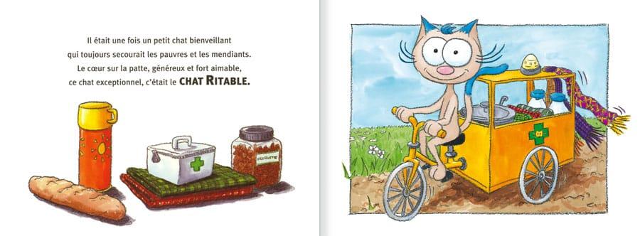 Extrait de l'album Le Chat Ritable. Lire les pages 2 et 3 de ce livre pour enfants
