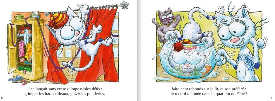 Feuilleter l'album Le Chat Seneige. Lire les pages 4 et 5 de ce livre pour enfants