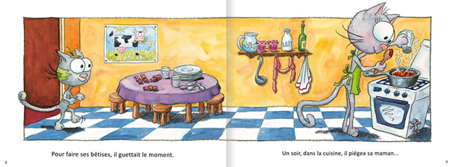 Découvrir l'album Le Chat Touillis. Lire les pages 4 et 5 de ce livre pour enfants