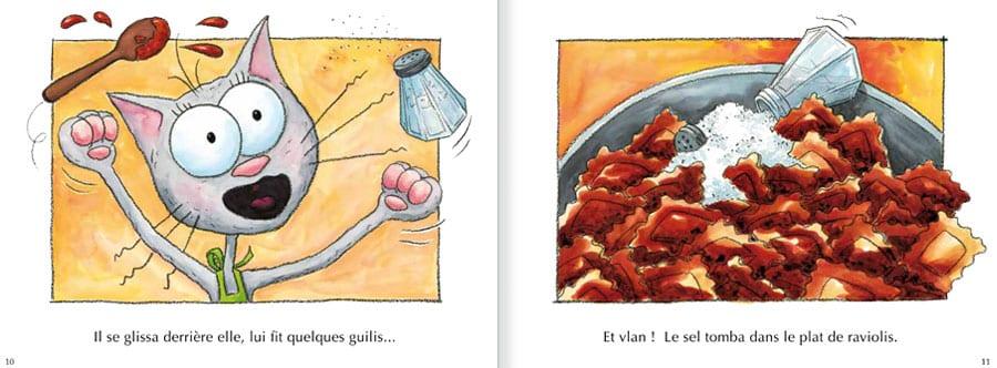 Découvrir l'album Le Chat Touillis. Lire les pages 6 et 7 de ce livre pour enfants