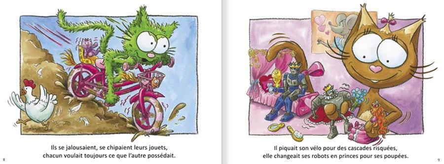 Découvrir l'album Les Chats Taignes. Lire les pages 4 et 5 de ce livre pour enfants