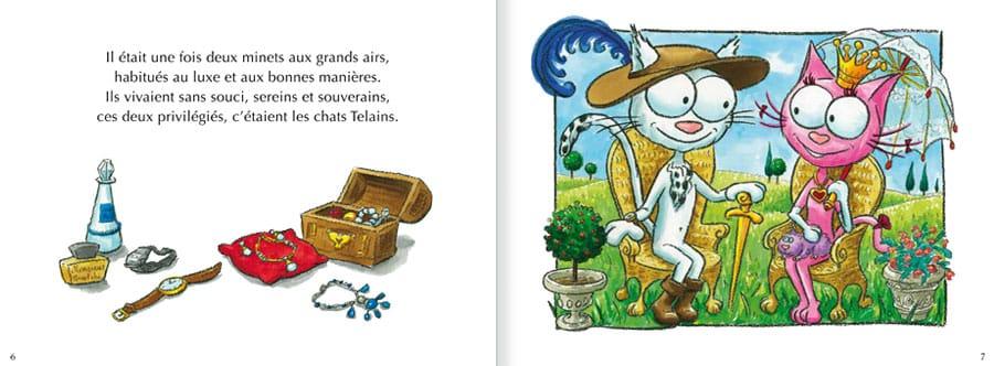 Découvrir l'album Les Chats Telains. Lire les pages 2 et 3 de ce livre pour enfants
