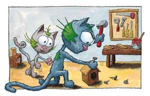 Puzzle le chat Touillis et son papa qui bricole