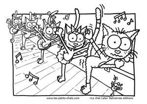 Coloriage le chat Lala et sa classe de danse
