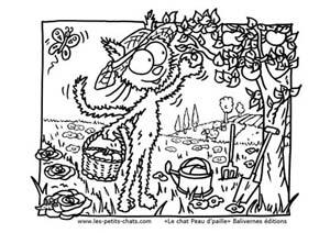 Coloriage le chat Peau d'paille et son pommier