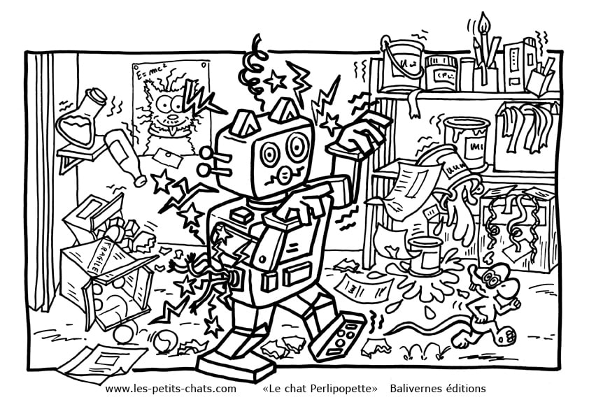 Coloriage le chat Perlipopette qui a fabriqué un robot - téléchargement Gratuit