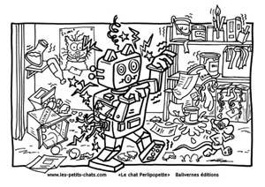 Coloriage le robot du chat Perlipopette