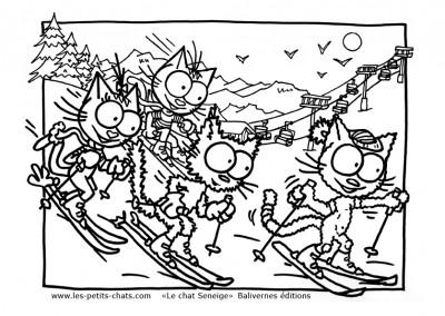 Coloriage du chat Seneige qui fait du ski