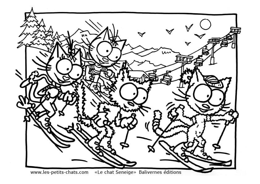 Coloriage le chat seneige qui fait du ski avec ses copains - Coloriage hivers ...