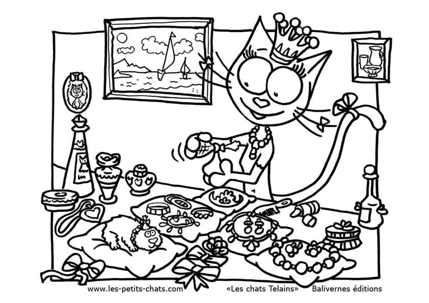 Téléchargement gratuit de ce coloriage de la chat Telaine qui se fait une beauté