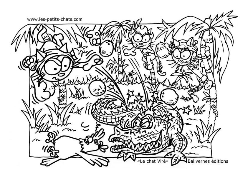 Coloriage le chat Viré et la chasse au crocodile