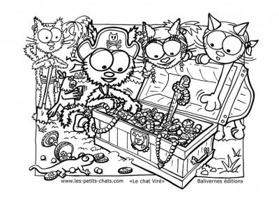 Coloriage du chat Viré et le coffre au trésor