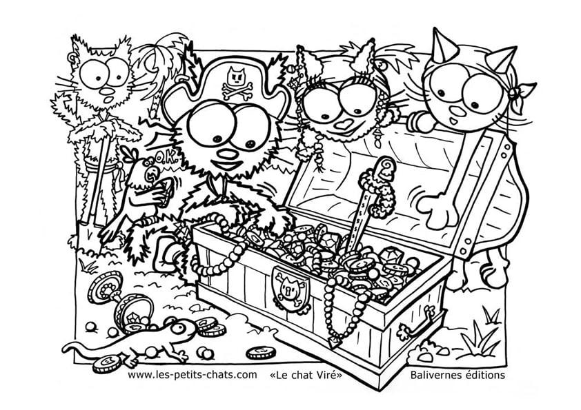 Coloriage le chat Viré et les pirates avec leur coffre au trésor