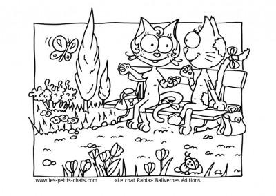 Coloriage les petits chats Les copines discutent