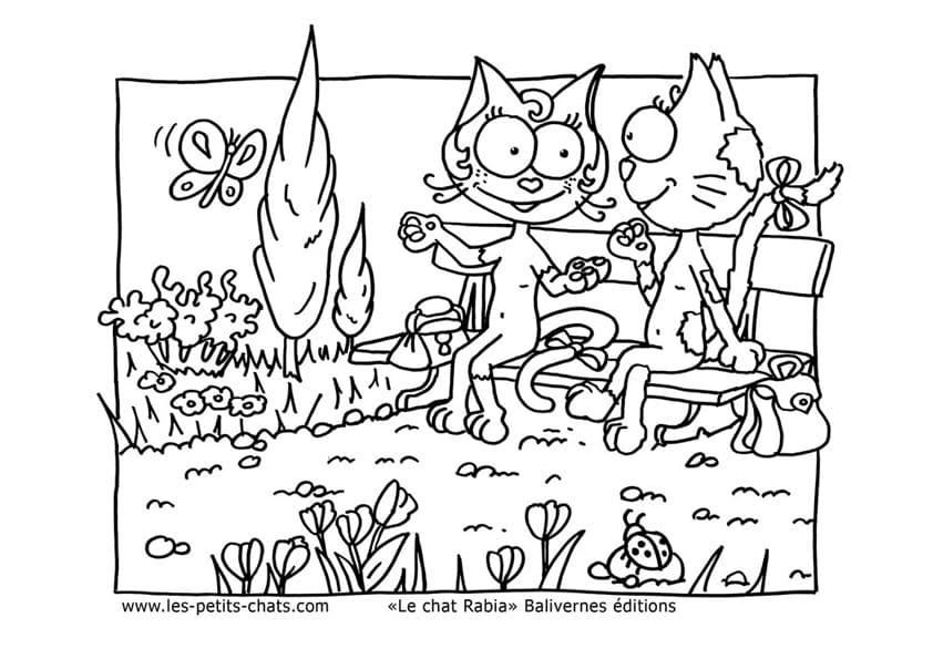 Téléchargement gratuit de ce coloriage de chat sur un banc