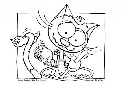 Coloriage le petit chat fait de la cuisine