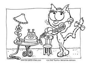 Coloriage Lili téléphone au chat Touillis