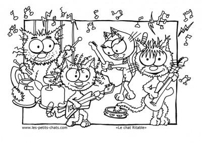Coloriage du groupe de rock dans le chat Ritable