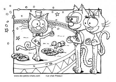 Coloriage du chat Piteau qui présente son spectacle