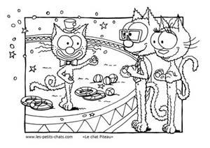 Coloriage le chat Piteau et son numéro de cirque