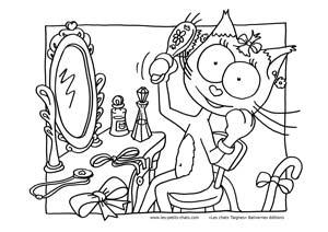Coloriage la chat Taigne fait sa toilette