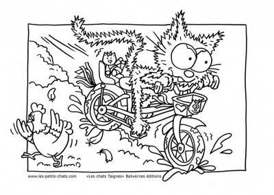 Coloriage le petit chat fait du vélo à fond