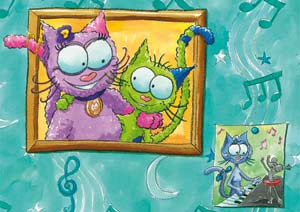 Puzzle Le chat Lala en photo au mur