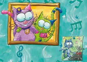 Puzzle Le chat Lala en photo au mur