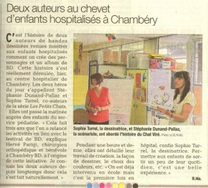 Article dauphiné libéré visite enfants malade hopital de Chambéry