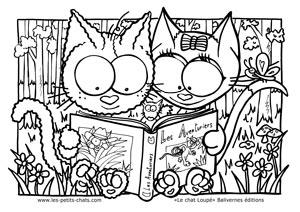 Coloriage le chat Loupé et Surimi devant un livre