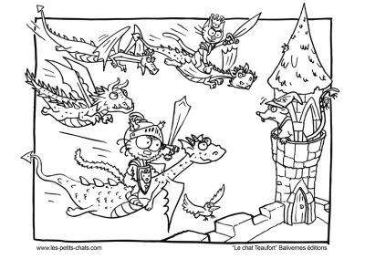 Coloriage le chat Teaufort et l'attaque des dragons