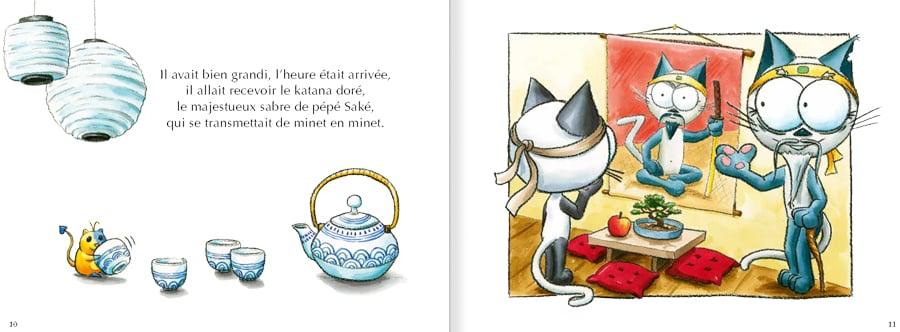 Extrait de l'album pour enfants Le chat Mouraï