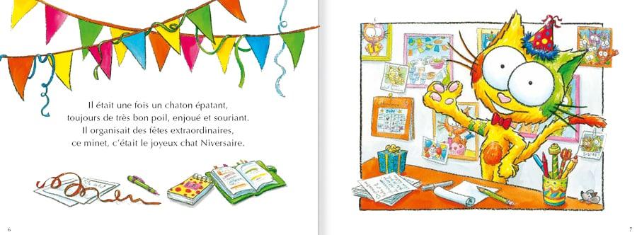 Extrait de l'album pour enfants Le chat Niversaire