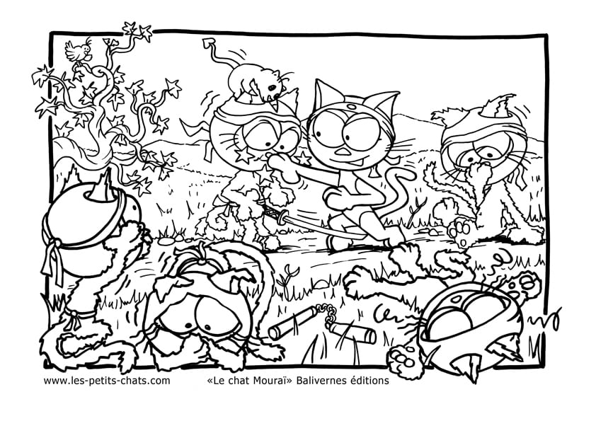 Coloriage le chat moura un chat samoura contre les ninjas - Jeux de coloriage de chat ...