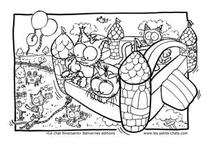 L'envol du château gonflable du chat Niversaire