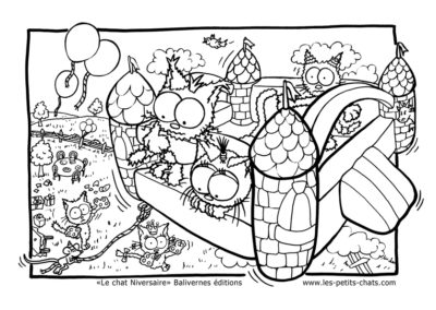 Coloriage Le chat Niversaire et les jeux gonflables