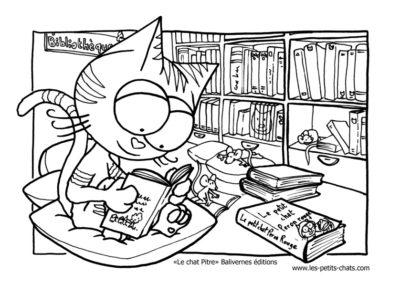 Le chat Pitre adore lire, bien installé à la bibliothèque