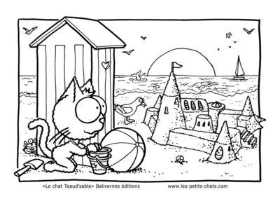 Coloriage à télécharger gratuitement du livre Le chat Teaud'sable