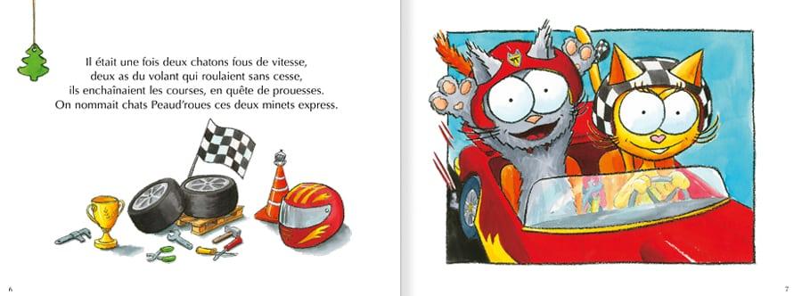 Feuilleter les pages 6 et 7 de l'album Les chats Peaud'roues