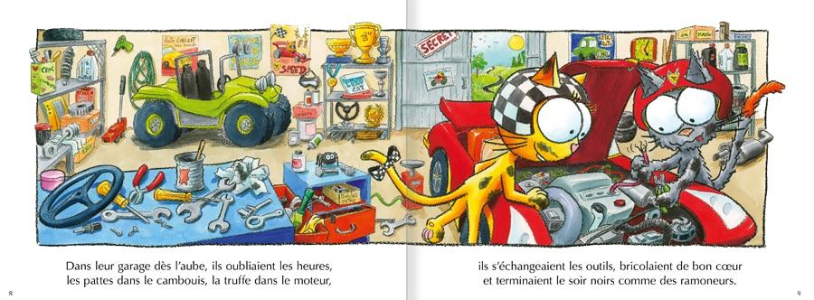 Feuilleter les pages 8 et 9 de l'album Les chats Peaud'roues