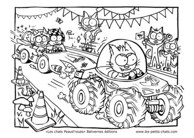 Coloriage des chats Peaud'roues qui font la course
