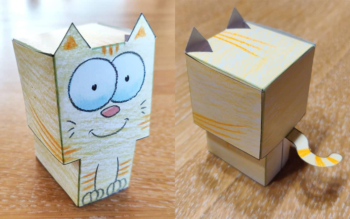 Fait un coloriage et construit ton petit chat en 3D